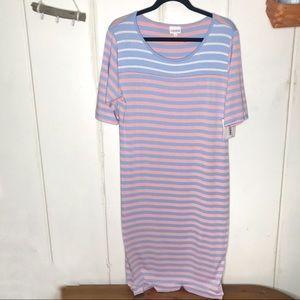 Lularoe • pink striped Julia midi dress